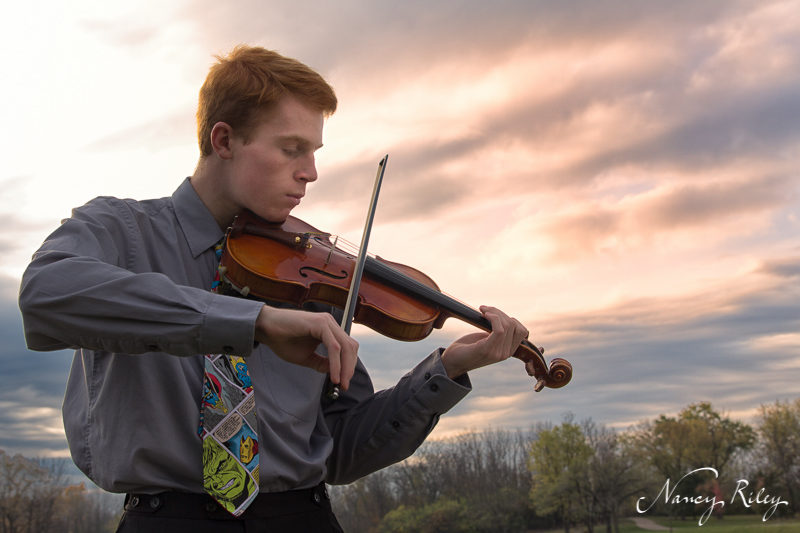 Violinist in the morning