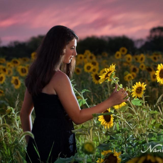 Senior Girl With Sunflowers