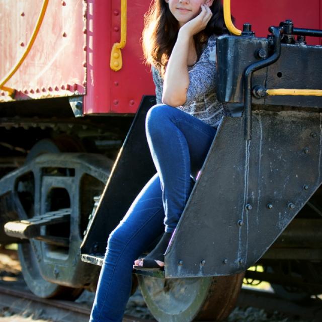 Senior Girl on Train