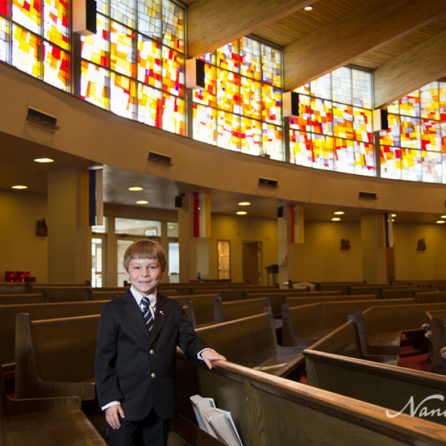 First Communion Andrew in church