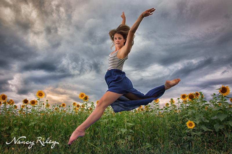 senior dancer sunflowers