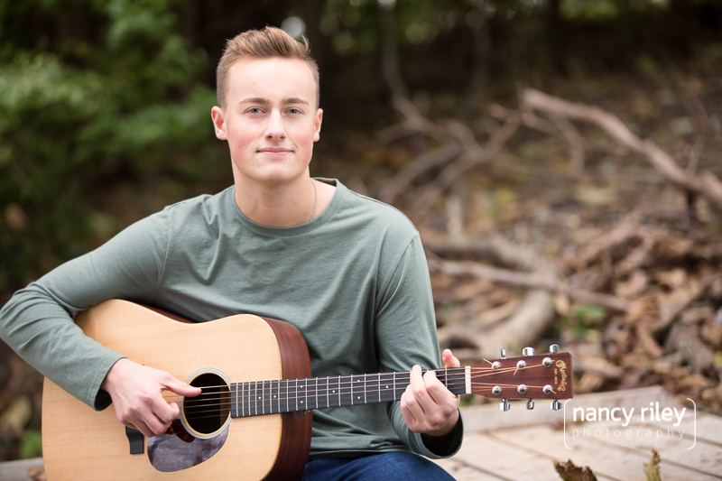 Senior boy with guitar