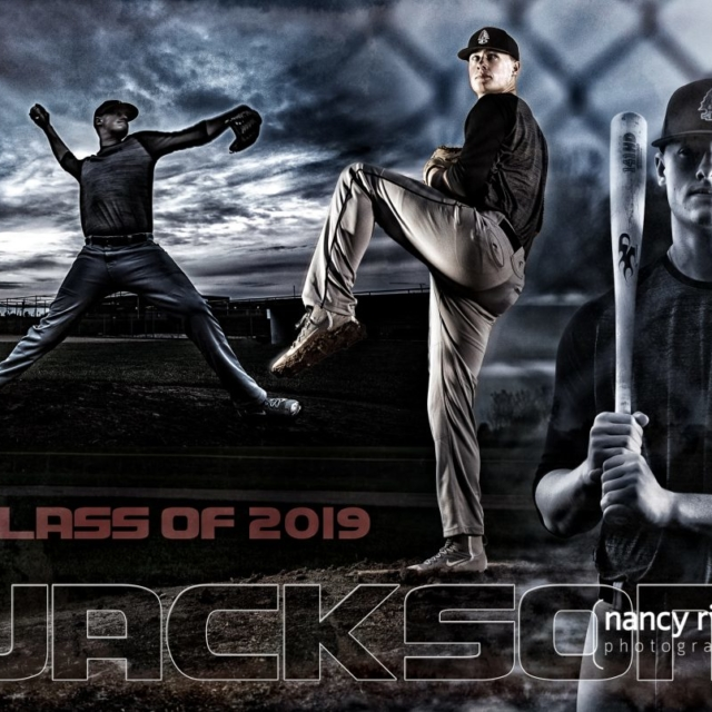Baseball senior portrait photomontage
