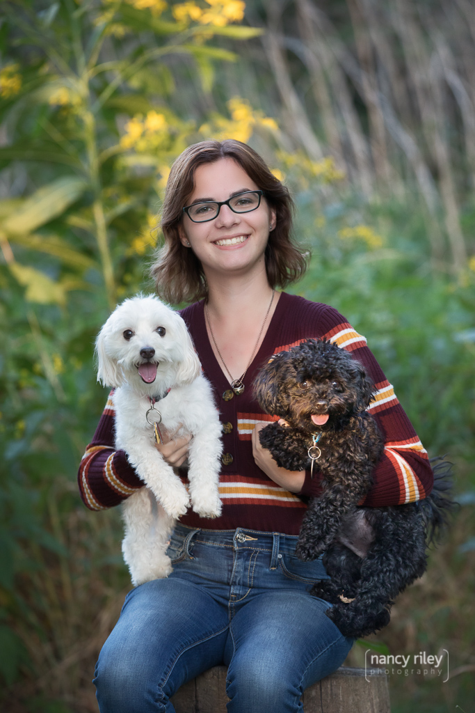 Senior girl with dogs