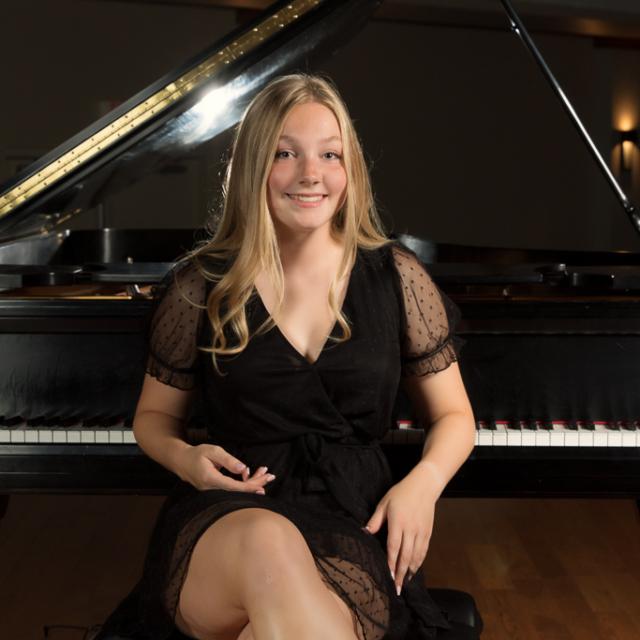 Senior girl at piano